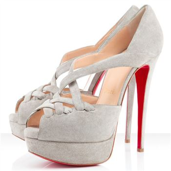 Christian Louboutin Lady Corset 140mm Peep Toe Pumps Taupe
