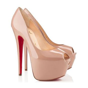 Christian Louboutin Highness 160mm Peep Toe Pumps Nude