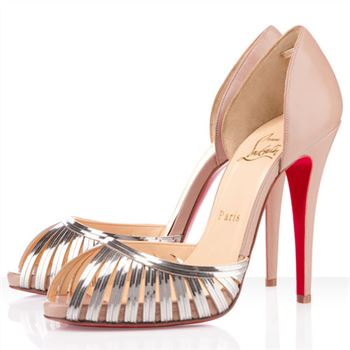 Christian Louboutin Corpus 120mm Peep Toe Pumps Beige