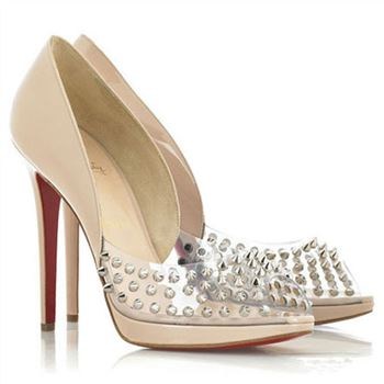 Christian Louboutin Engin 120mm Peep Toe Pumps Nude