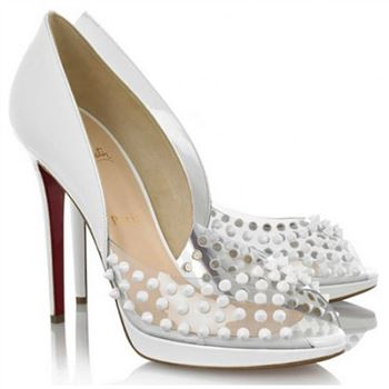 Christian Louboutin Engin 120mm Peep Toe Pumps White