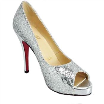 Christian Louboutin Glittered 120mm Peep Toe Pumps Silver