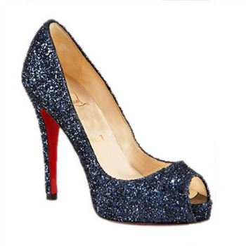 Christian Louboutin Glittered 120mm Peep Toe Pumps Blue