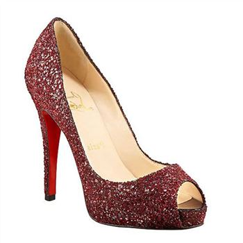 Christian Louboutin Glittered 120mm Peep Toe Pumps Red