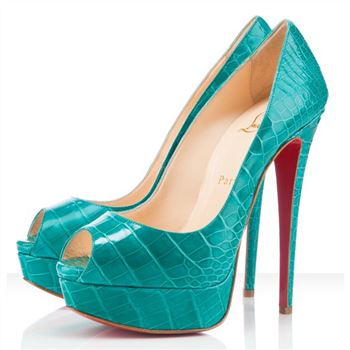 Christian Louboutin Lady 140mm Peep Toe Pumps Jade