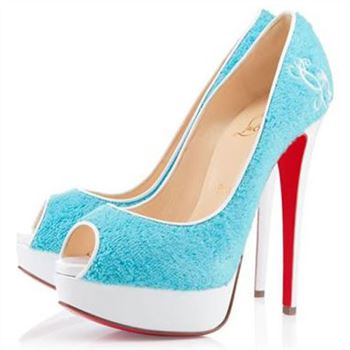 Christian Louboutin Lady 140mm Peep Toe Pumps Light Blue