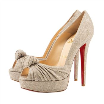 Christian Louboutin Greissimo 140mm Peep Toe Pumps Taupe