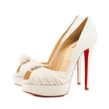 Christian Louboutin Greissimo 140mm Peep Toe Pumps White