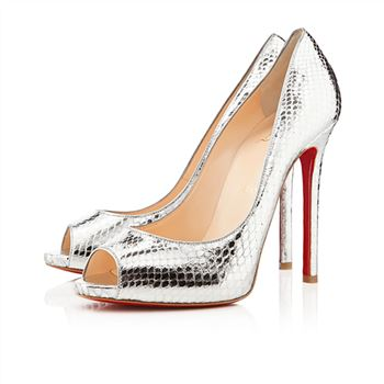 Christian Louboutin Flo 120mm Peep Toe Pumps Silver