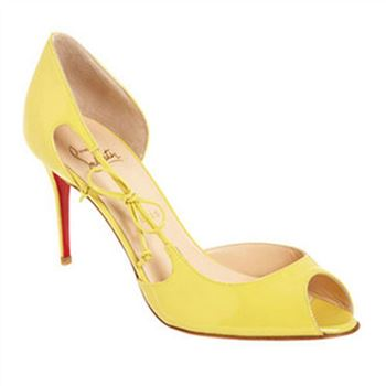 Christian Louboutin Delico 100mm Peep Toe Pumps Yellow