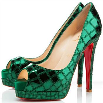 Christian Louboutin Sobek 100mm Peep Toe Pumps Green