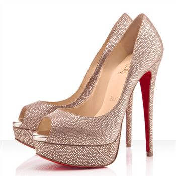 Christian Louboutin Lady Peep Spikes 140mm Peep Toe Pumps Gold