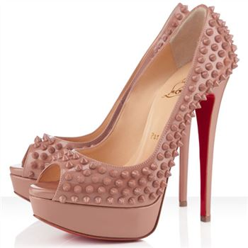 Christian Louboutin Lady Peep Spikes 140mm Peep Toe Pumps Nude