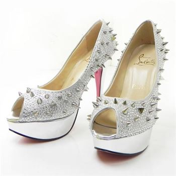 Christian Louboutin Lady Peep Spikes 140mm Peep Toe Pumps Silver
