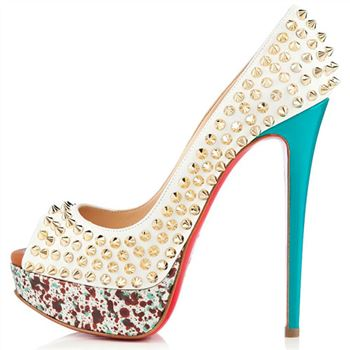 Christian Louboutin Lady Peep Spikes 140mm Peep Toe Pumps Craie