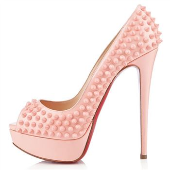 Christian Louboutin Lady Peep Spikes 140mm Peep Toe Pumps Baby Pink