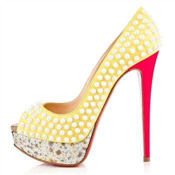 Christian Louboutin Lady Peep Spikes 140mm Peep Toe Pumps Canari