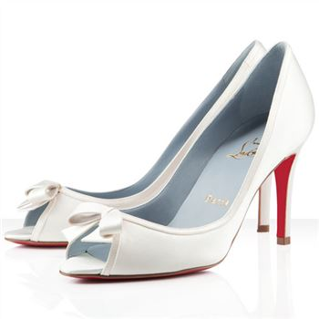 Christian Louboutin Milady 80mm Peep Toe Pumps Off White