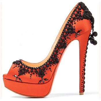 Christian Louboutin Torero 140mm Peep Toe Pumps Orange