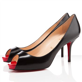 Christian Louboutin Mater Claude 80mm Peep Toe Pumps Black/Red