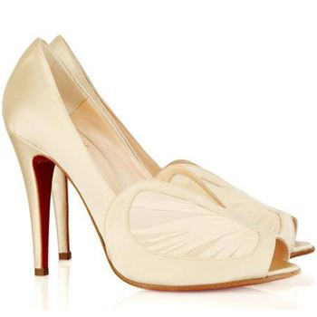 Christian Louboutin Papilipi 100mm Peep Toe Pumps White