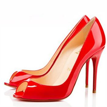 Christian Louboutin Sexy 100mm Peep Toe Pumps Red