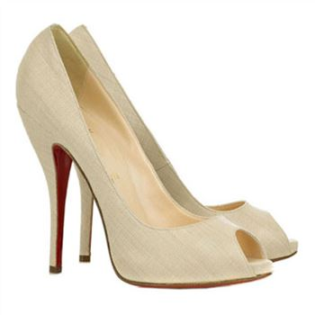 Christian Louboutin Titi 120mm Peep Toe Pumps Beige