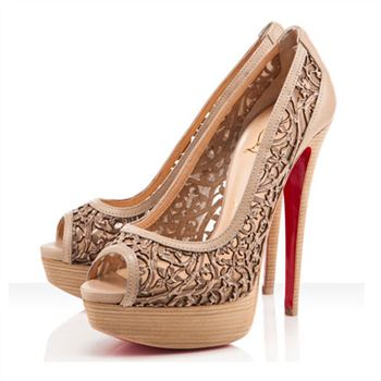 Christian Louboutin Pampas 140mm Peep Toe Pumps Beige