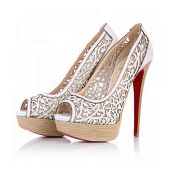 Christian Louboutin Pampas 140mm Peep Toe Pumps White
