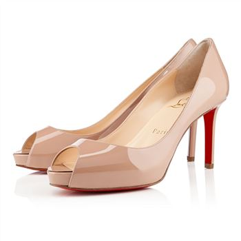 Christian Louboutin No Matter 80mm Peep Toe Pumps Nude