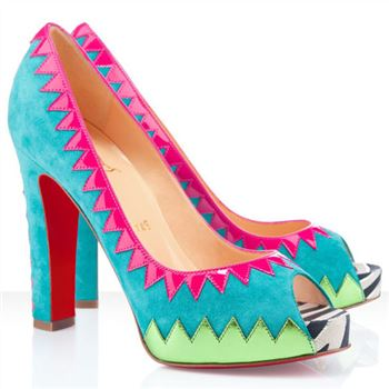 Christian Louboutin Tibu 120mm Peep Toe Pumps Blue