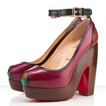 Christian Louboutin Minimi 140mm Peep Toe Pumps Bordeaux