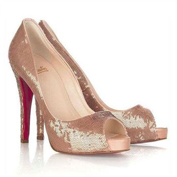 Christian Louboutin Very Prive 120mm Peep Toe Pumps Brown