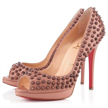 Christian Louboutin Yolanda Spikes 120mm Peep Toe Pumps Nude