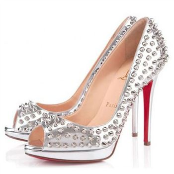 Christian Louboutin Yolanda Spikes 120mm Peep Toe Pumps Silver
