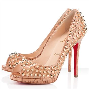 Christian Louboutin Yolanda Spikes 120mm Peep Toe Pumps Natural