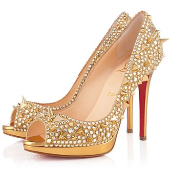 Christian Louboutin Yolanda Spikes 120mm Peep Toe Pumps Gold