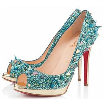 Christian Louboutin Yolanda Spikes 120mm Peep Toe Pumps Green