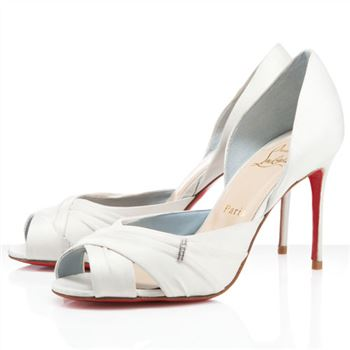 Christian Louboutin Tres Ophrah 80mm Peep Toe Pumps Off White