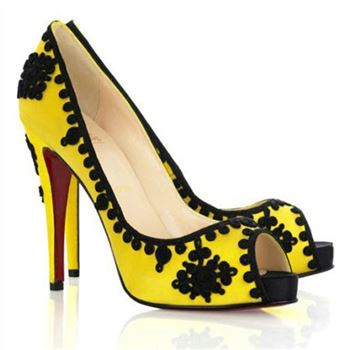 Christian Louboutin Very Brode 120mm Peep Toe Pumps Yellow