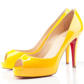 Christian Louboutin Very Prive 100mm Peep Toe Pumps Yellow