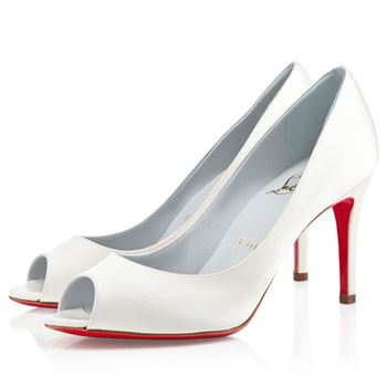Christian Louboutin You You 80mm Peep Toe Pumps Off White