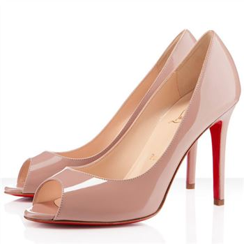 Christian Louboutin You You 100mm Peep Toe Pumps Nude