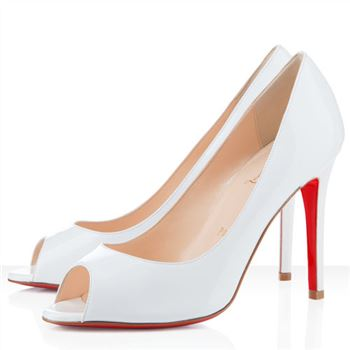 Christian Louboutin You You 100mm Peep Toe Pumps White