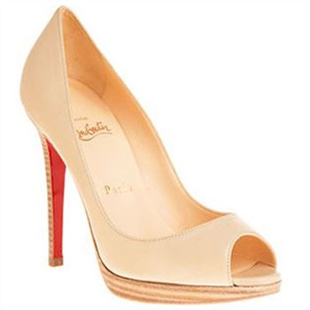 Christian Louboutin Yolanda 120mm Peep Toe Pumps Nude