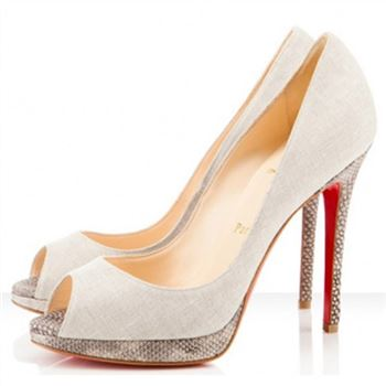 Christian Louboutin Yolanda 120mm Peep Toe Pumps Beige