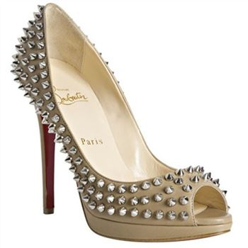 Christian Louboutin Yolanda Spikes 120mm Peep Toe Pumps Beige