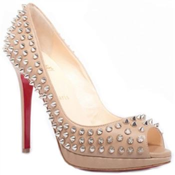 Christian Louboutin Yolanda Spikes 120mm Peep Toe Pumps Pink