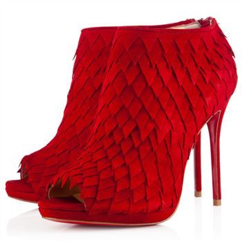 Christian Louboutin Diplonana 120mm Ankle Boots Red