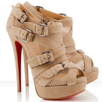 Christian Louboutin Mad Marta 140mm Ankle Boots Beige